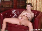 Brunette Brooke Logan with small pert tits fingers herself off in pantyhose