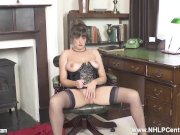 Brunette JOI flaunts big natural tits juicy pussy in corset and nylons