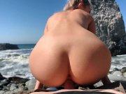 Russian Teen Girl Swallows Hot Cum on Californian Public Beach - Eva El