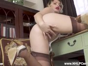 Busty blonde Penny Lee strips off retro lingerie for you to wank in nylons