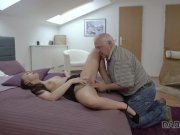 DADDY4K. Teen lassie is happy to taste old boner and receive a facial