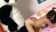Asian panda bear Teen cute girl with panda bear