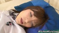Sleeping threesome Cute asian sleeping girl gets