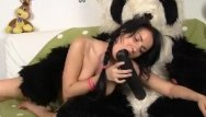 Teen role playing game - Role-playing with a toy bear with a huge by a
