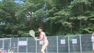 Nudist playing tennis Asian dolls playing tennis