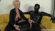 Latex no line in over Dominant granny dominates her slave
