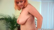 Sexy woman has to poop - Hairy grandma with big tits has solo sex