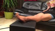 Crude mature clips Long nylon footplay by my stepmom