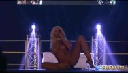 Vanity fair and lingerie Blonde gets dildo in live show