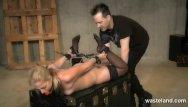 Black femdom master Tied blonde slave gives master a footjob