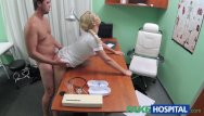 Erect uncircumsized penis cum Fakehospital nurse helps stud get erection