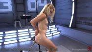 Robotic penis milking machine - Cute blonde gets schooled by robot dildos