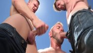 Gay montana camping Ragingstallion threesome at the porn camp
