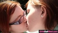 Redheads outdoor - Cute hairy lesbians lick each other outdoors