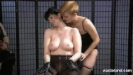 Hot wax on tits - Helpless slave covered in hot wax by mistress