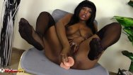Footjob ebony Black girl in nylons masturbates and shows footjob skills