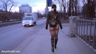 Bottemless bikini Jeny smith bottomless pantyhose public walk