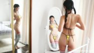 Asian dressing up games - Marica dresses up and teases her pussy