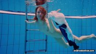 Chubby girl swimming - Teen girl avenna is swimming in the pool