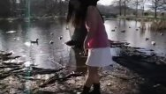 Naked girls farm ponds Cute asian teen dances around the duck filled pond