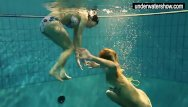Fucked under water - Two sexy amateurs showing their bodies off under water