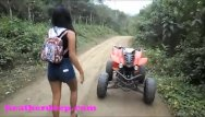 Dildo scary Heather deep 4 wheeling on scary fast quad and peeing next to horses in the