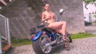 Motorcycle chicken strips Hot motorcycle babe strips for the camera