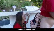 Joins in porn Familystrokes - sexy milf joins step-son daughter in threesome