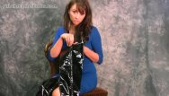 Leather loading strips - Busty babe puts on her leather thigh boots to strip tease in black panties