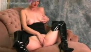 Latex leather Babe with big natural tits masturbates pussy in slutty black leather boots
