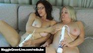 Linsey dawn mckenzie lingerie Maggie green displays her big natural tits using a hitachi