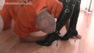 Slut kinky boots blog - Kinky leather clad femdoms make inmate slave lick the cream off their boots