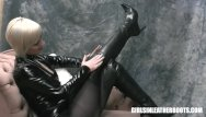 Krylon latex - Busty blonde in latex corset nylons sexy leather boots fingering wet pussy
