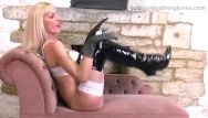 Sexy ladies in lingerie - Blonde milf strips off sexy white lingerie fingers pussy in leather gloves