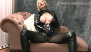 Big tits wet Nylon clad blonde rubs her soft leather gloves against big tits wet pussy
