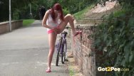 Breast pain mid cycle - Sexy redhead babe kattie gold is out cycling when she feels sudden pee desp