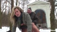 Hot young blond porn - Outdoor winter fun with a hot blonde chick