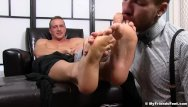Gay men armpit licking Attractive hunk relaxes while having armpits and feet licked
