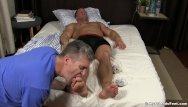 Sleeping gay blowjob Unaware hunk toe licked and sucked while sleeping in bed