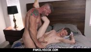 Gay curious threesome video - Familydick - sexy daddy barebacks his curious stepson