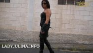 Fetish smoking boots Mature smoking mistress public walking leather boots whip