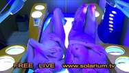 Girl stripping naked on tv - Two hot horny girls with hidden camera filmed in the public solarium