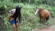 Asian peeing teen Hd peeing next to horse in jungle