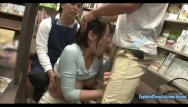 Threesome sex stores Sanada miki ambushed in book store jeans cut at the crutch and made to fuck