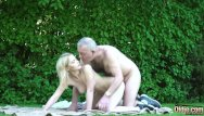Young small cocks - Petite teen blonde takes old man cock in her wet pussy then gives blowjob