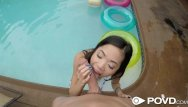 Asian slant - Povd soaked slanted pussy drilled poolside