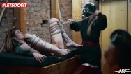 Free forceful femdom Letsdoeit - rough bondage and feet worship for german lady officers