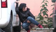 Jeans boots busty brunette - Lovely girls in tight jeans made it still in time to squat down and pee