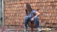 Caught peeing outdoors at events - Outdoor peeing with hot brunette