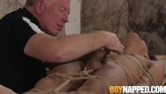Older man with twink - Young man dominated as an older dom plays with his cock